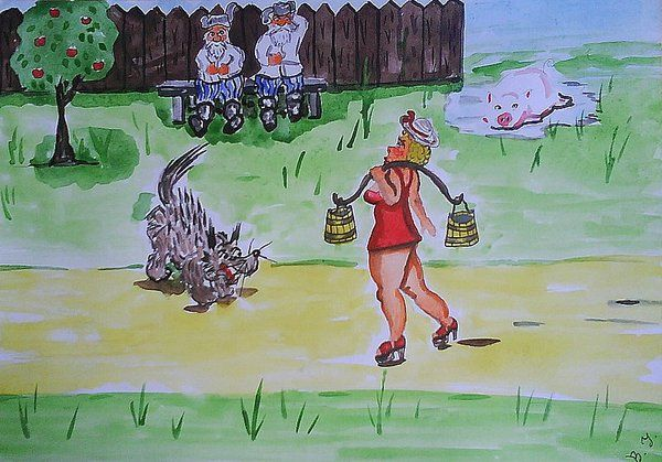 Карикатура: Эвелина пожарная машина., владимир ву
