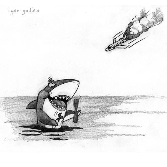 Карикатура: завтрак акулы, IgorHalko