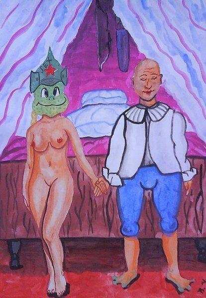 Карикатура: Семь лет брака., владимир ву