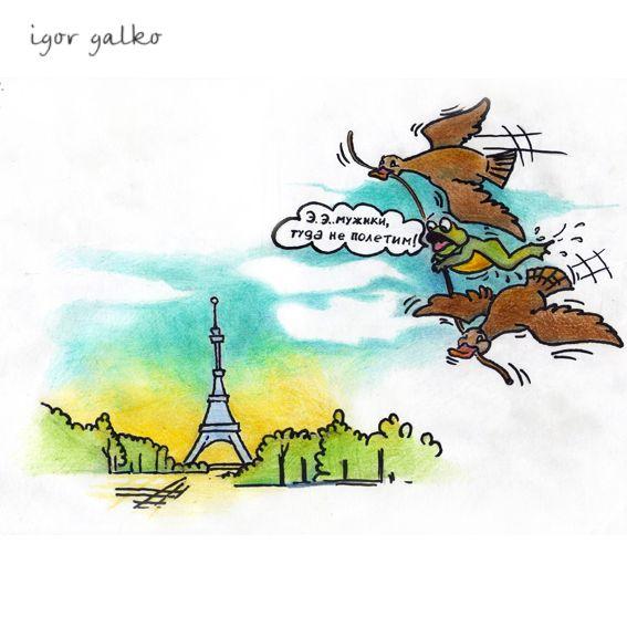 Карикатура: лягушка-путешественница, IgorHalko