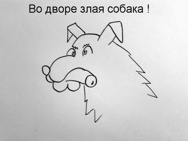 Карикатура: Во дворе злая собака!, владимир ву