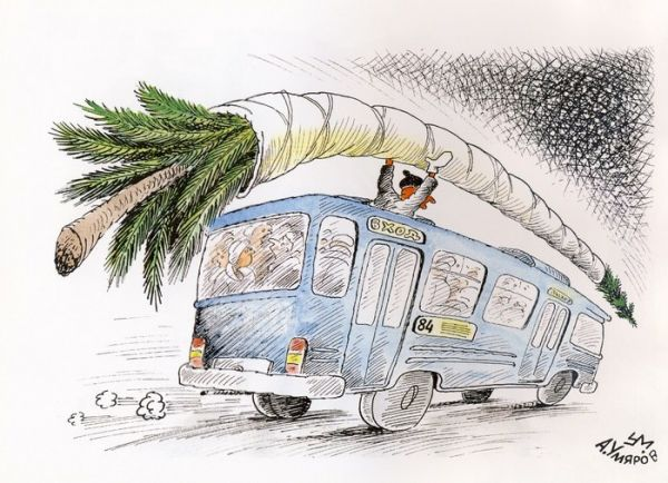 Карикатура: Ёлка на крыше автобуса..., Александр Умяров
