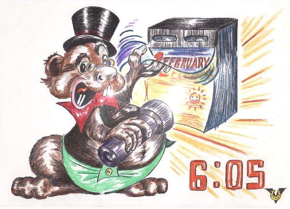 Карикатура: Ура! Нету тени у Сурка!, Владимир Уваров