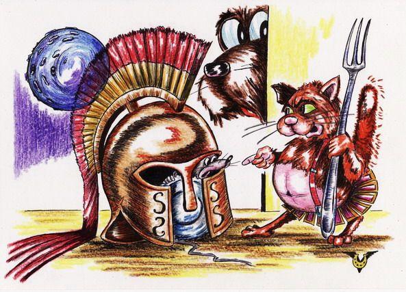 Карикатура: У каждого Ахилла свой Гектор!, Владимир Уваров