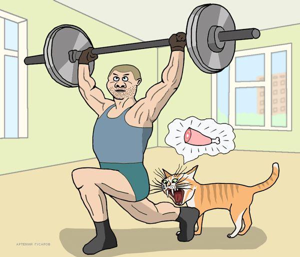 Карикатура: качок Вася и его оголодавший кот Кузя, artemij