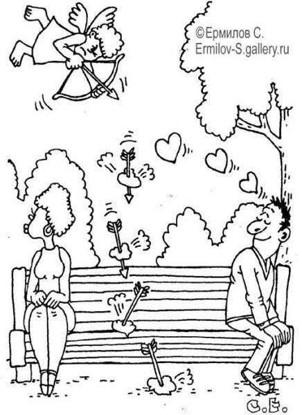Карикатура: Амур сердца сбивает, Сергей Ермилов