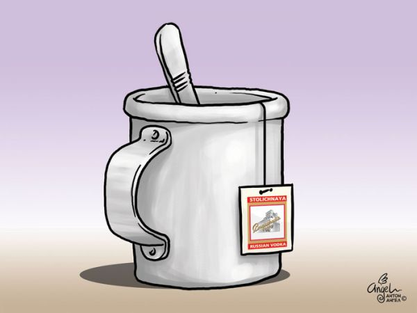 Карикатура: Водка в пакетиках, Антон Ангел