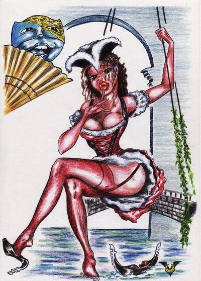 Карикатура: Венецианская Веерия, Владимир Уваров
