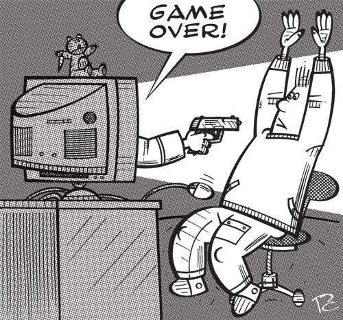 Карикатура: GAME OVER!, Сергей Репьёв