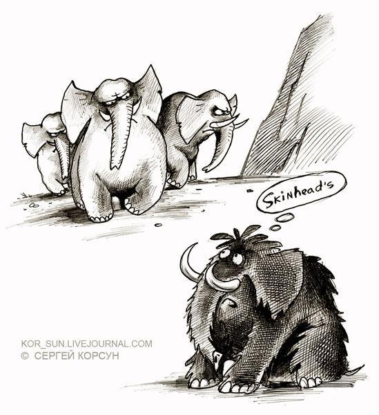 Карикатура: Скинхеды, Сергей Корсун