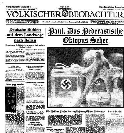 Карикатура: Очень нехороший осьминог - пророк. 1941.