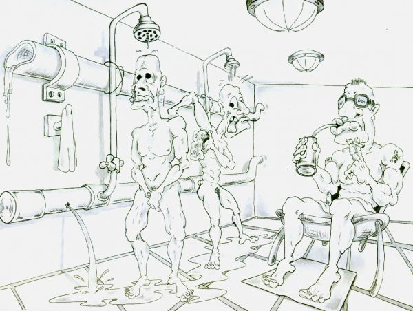 Карикатура: банный день, Дмитрий Субочев