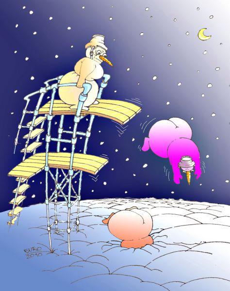 Карикатура: Новогодний снегопад, Евгений Романенко