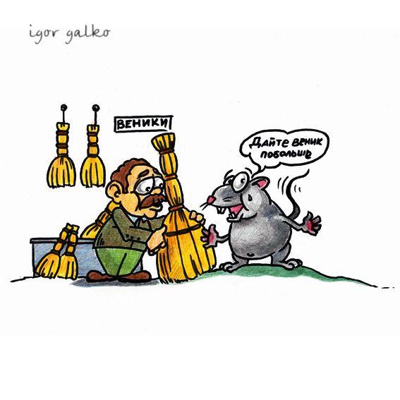 Карикатура: мышь под веником, IgorHalko