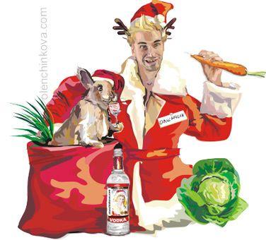 Карикатура: Новогодний персонаж Оленчик, olenchinkova