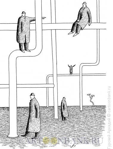 Карикатура: люди на трубах, Гурский Аркадий