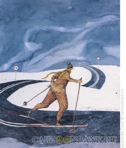 Карикатура: Зимний пейзаж, Дергачёв Олег