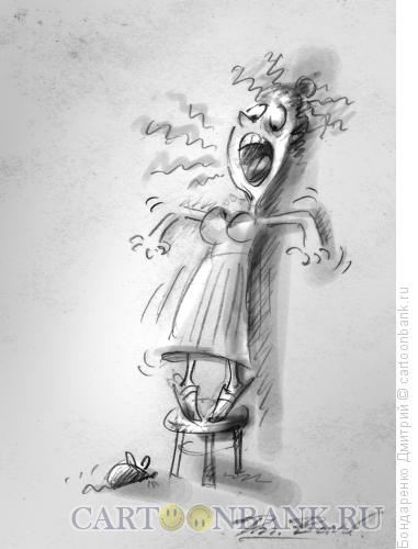 Карикатура: Женщина и мышка, Бондаренко Дмитрий