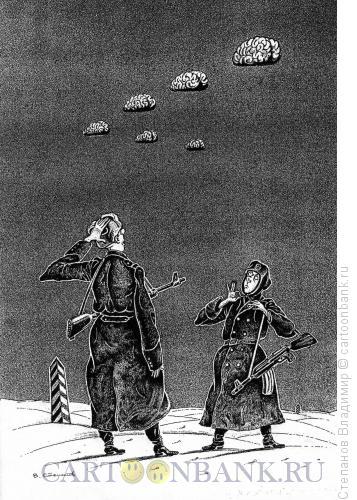 Карикатура: Утечка мозгов (brain drain), Степанов Владимир
