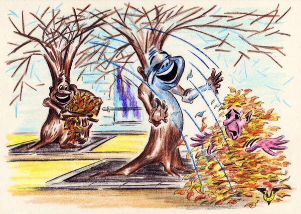 Карикатура: Листопад, Владимир Уваров