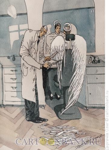 Карикатура: Ангел у парикмахера, Дергачёв Олег