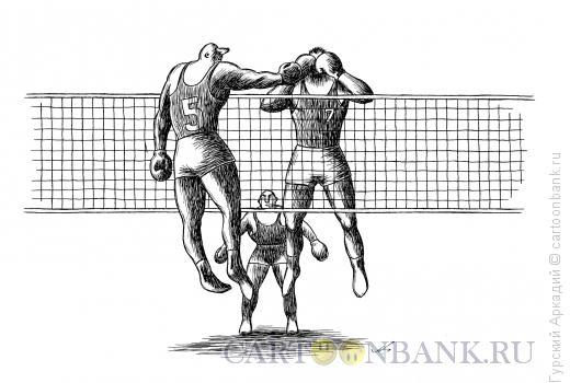 Карикатура: боксёры-волейболисты, Гурский Аркадий