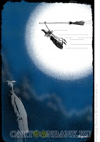 Карикатура: Колдунья на метле, Богорад Виктор