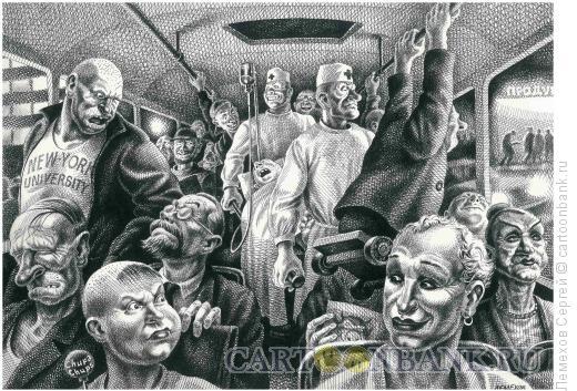Карикатура: Перевозка больного, Лемехов Сергей