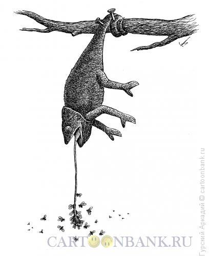Карикатура: хамелеон и мухи, Гурский Аркадий