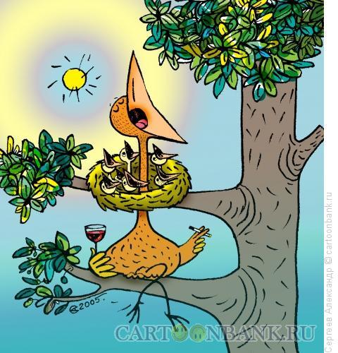 Карикатура: Птенец и гнездо, Сергеев Александр
