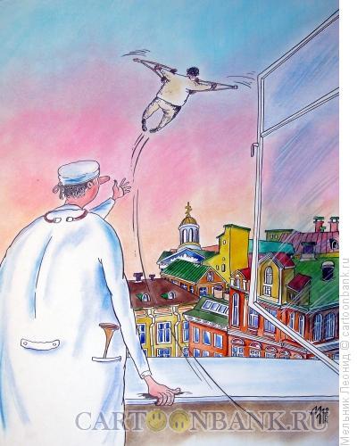 Карикатура: Пациент улетел, Мельник Леонид