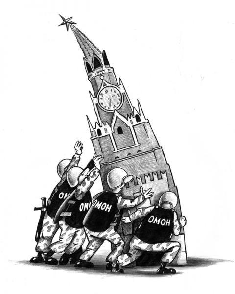 Карикатура: Единственная опора, Сергей Корсун