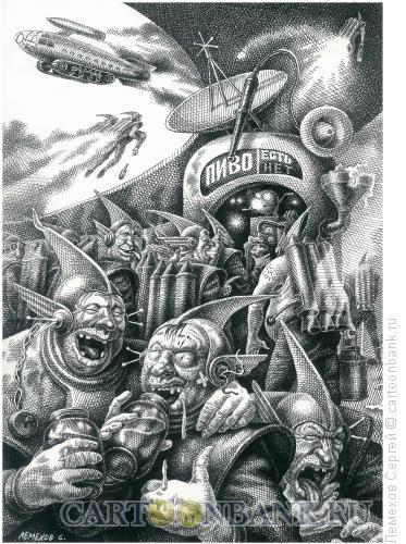 Карикатура: Пивной ларёк 21-го века, Лемехов Сергей