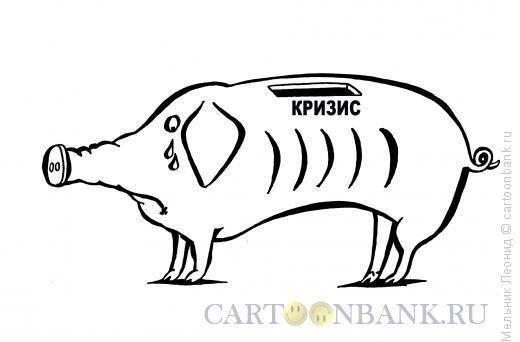 Карикатура: Свинья-копилка при кризисе, Мельник Леонид