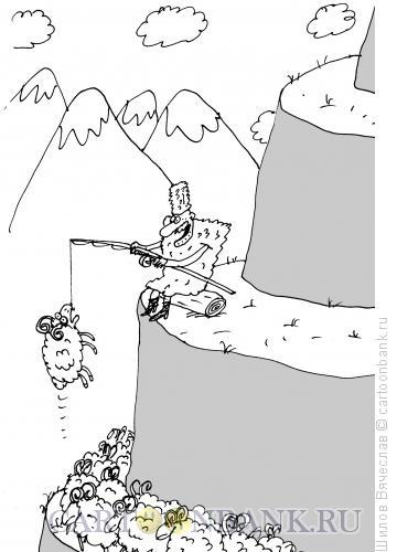 Карикатура: Горец-рыбак, Шилов Вячеслав