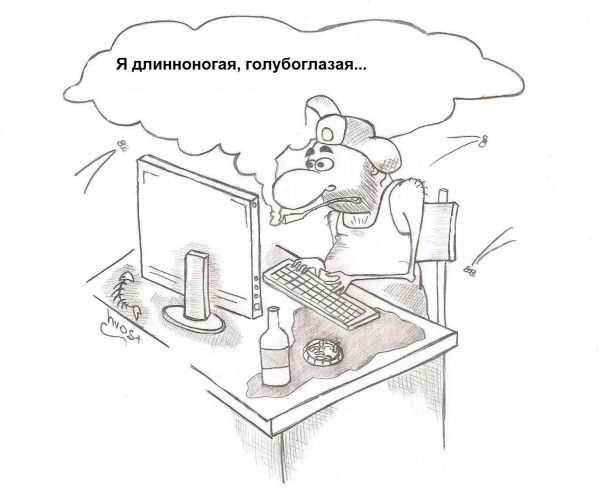 Карикатура: Знакомство по интернету, Роман Васько