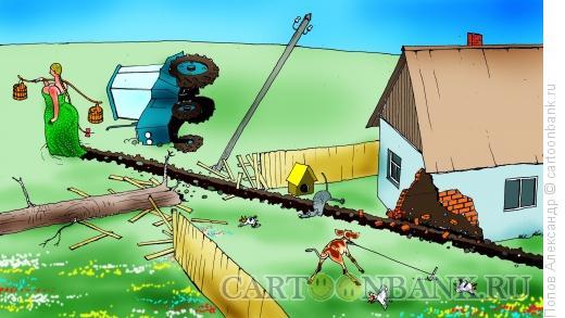 Карикатура: Призадумалася дева, Попов Александр