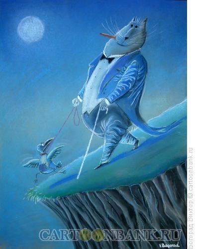 Карикатура: Слепой кот и птица-поводырь, Богорад Виктор