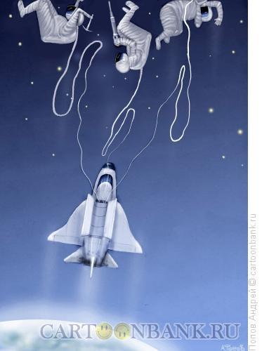 Карикатура: Выход в космос, Попов Андрей