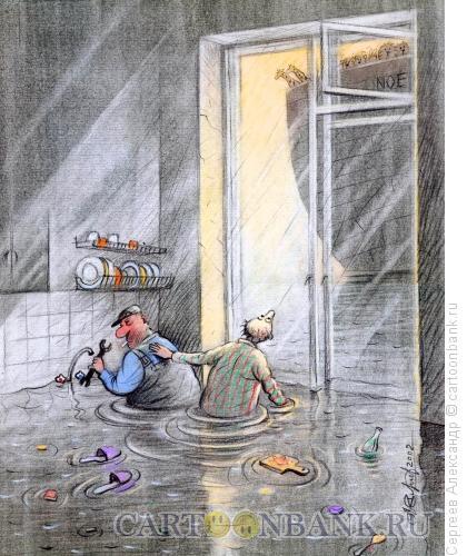 Карикатура: Потоп на кухне, Сергеев Александр