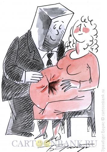 Карикатура: Квадратная голова, Эренбург Борис