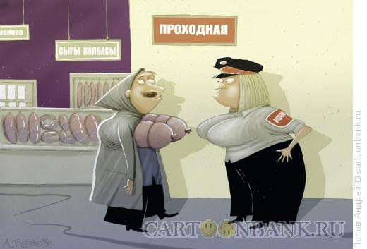 Карикатура: На проходной, Попов Андрей