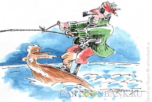 Карикатура: Водные лыжи, Эренбург Борис