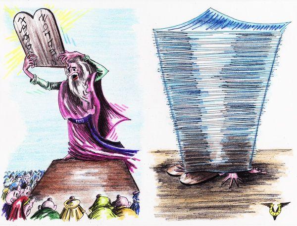 Карикатура: Поправки к Десяти Заповедям, Владимир Уваров