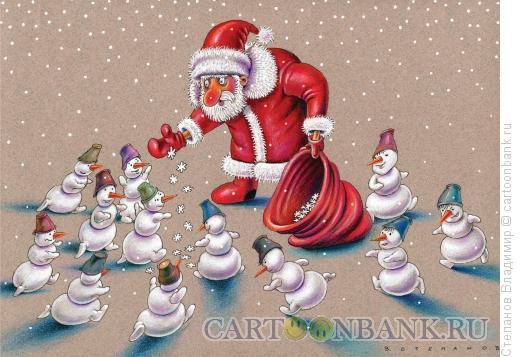 Карикатура: Дед Мороз, Степанов Владимир