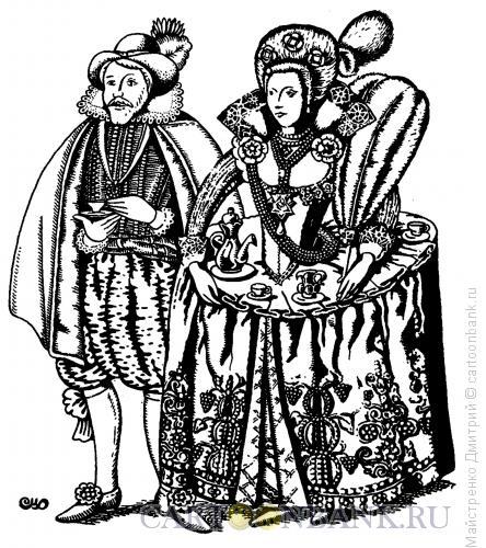 Карикатура: Дама с чаем, Майстренко Дмитрий