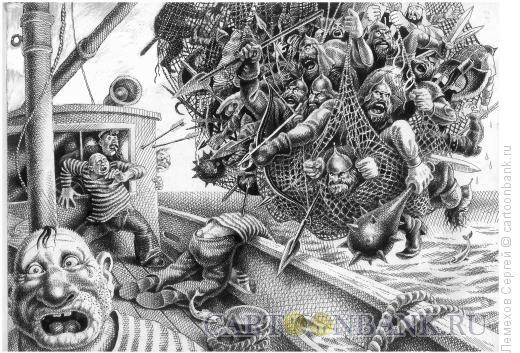 Карикатура: Улов на сейнере, Лемехов Сергей
