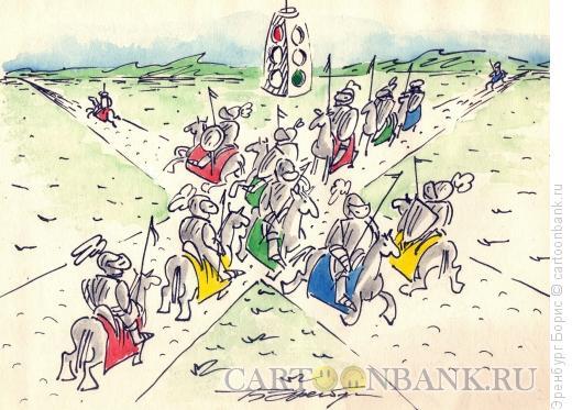 Карикатура: Светофор, Эренбург Борис