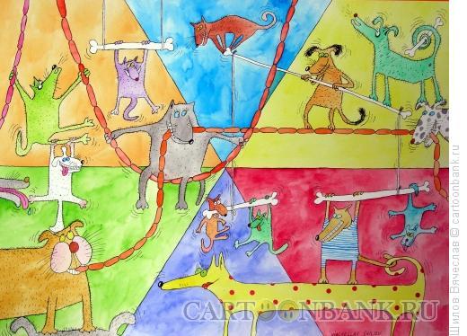 Карикатура: Собачий цирк, Шилов Вячеслав