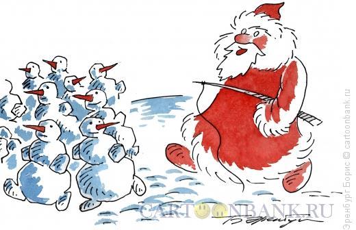 Карикатура: Снеговики на выпасе, Эренбург Борис